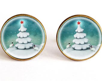 Pictured cuff links white fir - Winter Solstice