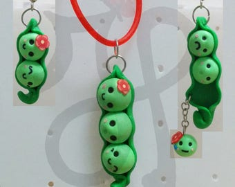 "Parure kawaii ""Peas in the pod ... or almost"""