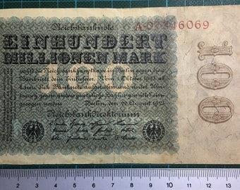 1 x Reichsbanknote - Einhundert Millionen Mark - A.07846069