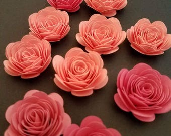 Set of 12 Shades of Pink Small Paper Flowers, Quilled Flowers, Origami Paper Flowers