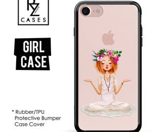 Girl Phone Case, Floral Phone Case, Yoga Phone Case, iPhone 7, Fashion, Peace, Gift for Her, iPhone 7 Plus, iPhone 6S, Rubber Case, Bumper