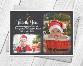 Personalised Christmas Thank You Cards Notes With Photo | Xmas Thank You Cards