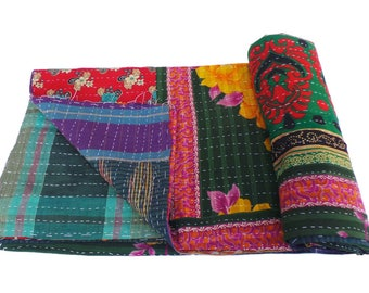 Twin Vintage Reversible Kantha Quilt Old Cotton Kantha Quilt Handmade Blanket cotton Reversible Kantha Quilt