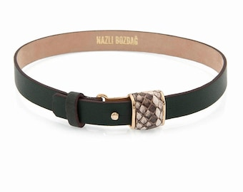 Dark Green Leather Choker With Phyton Accessory