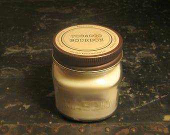 TOBACCO BOURBON // Soy Candle // Wood Wick // Mason Jar