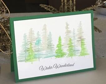 CHRISTMAS Trees Winter Wonderland Holiday Card