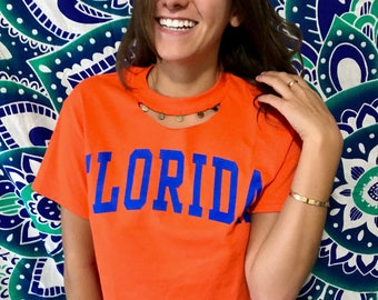 Custom college tee with charms neckline!