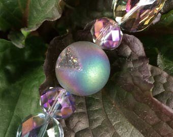 Sun catcher Suncatcher crystal prism 20mm crystalloid amethyst purple frosted faceted beads hanging zen feng shui