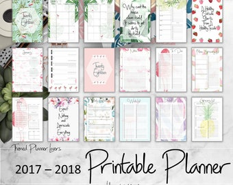 2017-2018 planner printable inserts, 2018 Agenda,planner inserts, printable planner inserts 2018, weekly, monthly calander, to do, notes, A5