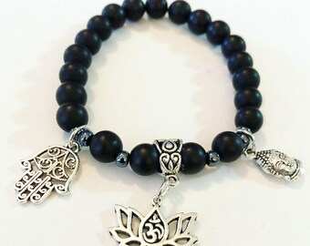 Multipe charm bracelet - made with matte black beads.