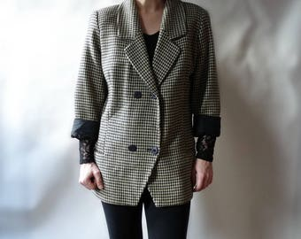 Barneys New York Woman Suit Jacket Blazer Beige Black Houndstooth Wool Cashmere Italy Vintage Oversized 36 38