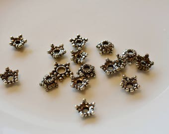 Bali Sterling Silver Stat end cap bead Lot 7mm  15 pieces