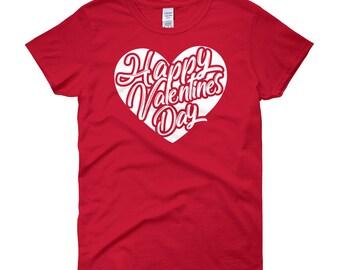 Happy Valentines day shirt-valentines day-valentine shirt-valentines day shirt-heart shirt-girls valentine-Women's short sleeve t-shirt