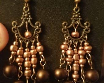 Copper chandelier earrings with brown pearls