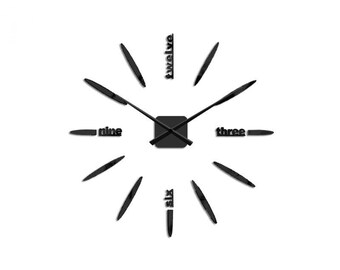 DIY Wall Clock 3D XXL 70cm-130cm Large Wall Clock Kit Stickers Home Art Modern Black
