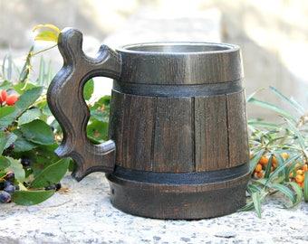Wooden Tankard, Retro Beer Mug, Wooden Beer Mug, Wood Beer Mug, Holz Bierkrug, Brown, 0.6 l. 22 oz