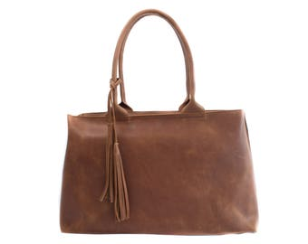 Brown leather bag/handbag for women/gift for her/geniune leather/with zipper/everyday bag/valentine's day gift