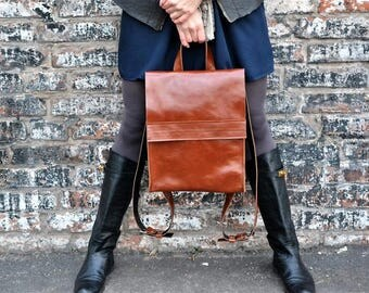 Leather backpack/brown backpacks/women backpack/handmade backpack/sac à dos en cuir/genuine leather/minimalist backpack/classy rucksack