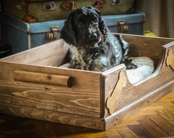 Dog bed, pet bed, Wooden dog bed,