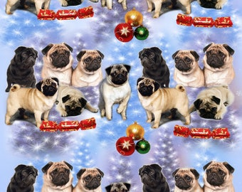 Pug Dog Christmas Gift Wrapping Paper.