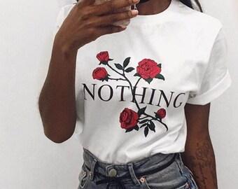 Nothing Letter Print T Shirt Rose T-Shirt Women 2018 Summer Casual Short Sleeve TShirt White Gray Punk Shirts