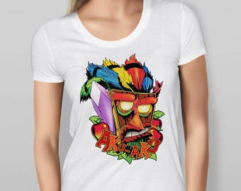 Womens Crash Bandicoot Inspired 'Aku-Aku' White T-shirt  Womens Valanetine's gift girlfriend boyfriend gift