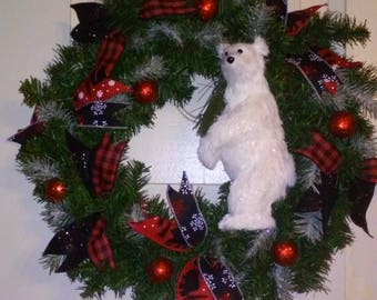 Christmas Polar Bear evergreen wreath/ door hanger