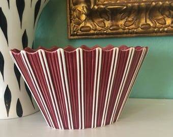 Sylvac Striped Red and White Vase 1950s