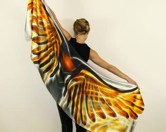 Wing Scarf, Satin Silk scarf,Long Scarf, Art, Summer Scarf,Wrap Scarf,Wing Shawl,Art Scarf,Gift for Her,Unique,Wing on Wrap,Over Size Scarf