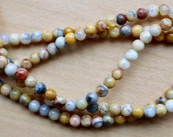 4mm Crazy Agate beads, half strand, natural stone beads, round, 40015
