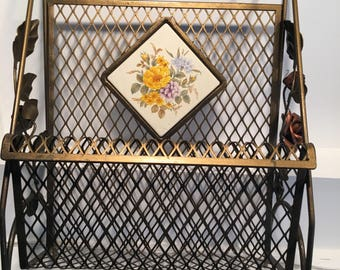 Vintage Metal Magazine Rack with Roses on each side & a floral tile in middle