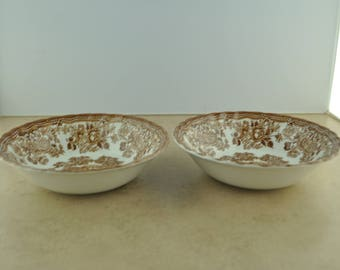 "Royal Staffordshire ""Tonquin"" Brown Transferware Bowls (Pair)"
