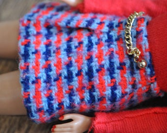 Vintage Barbie Clothes - Red and Blue Houndstooth Pencil Skirt