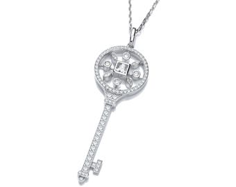 "Victorian Design Sterling Silver & Pave Set Cz Key Pendant on 16""- 18"" Necklace"