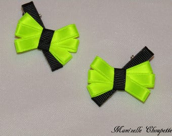 Set of 2 black and neon yellow strips