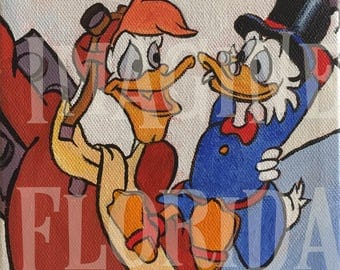 Scrooge McDuck and Launchpad McQuack Cartoon 6x6 Acrylic on Canvas - Original Painting - Disney Inspired Artwork - Vintage Retro Duck Tales