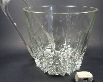 Glass ice bucket,with matching tongs