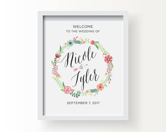 8x10_Floral Wedding Sign_Customized welcome message