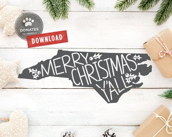 North Carolina Christmas SVG | North Carolina SVG | NC Christmas Svg | State Clipart Holiday Cut File Jpg • Eps • Dxf Png Cricut Silhouette
