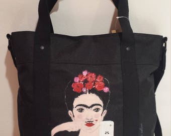 Polyester fashion shopper, Frida Kahlo, selfie, whiskers, with shoulder strap, hand painted, unique fashion