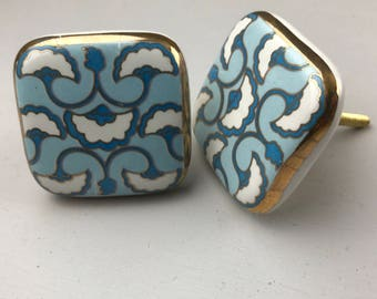 Set of 2 LARGE X Art Deco Style Blue and White Patterned SQUARE knobs edged in Gold colour