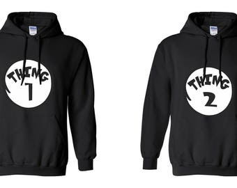 Thing 1 Thing 2 COUPLE Printed Adult Unisex Hooded Sweatshirt  Hoodies for Men and Women Valentine's Day Matching Clothes