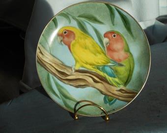 lovebirds hand painted porcelain plate