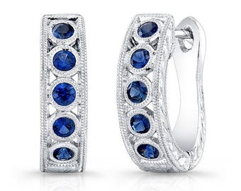 14k white gold, Genuine Blue Sapphire Earring