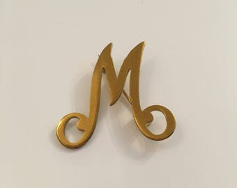 M or W gold tone vintage brooch