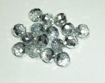 """10 pearls 8mm Crystal swarovski """"Crystal Silver"""""""