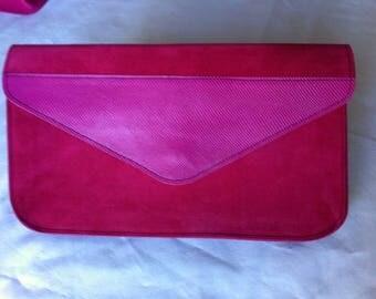 Leather fuchsia velvet pouch