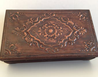 Wooden box with copper on the lid - Jewelry box - Vintage box - Vintage wooden box - Memory Box - Retro box - wooden box - Home decor