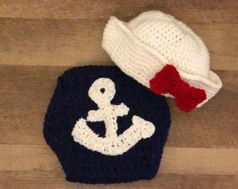 Sailor/Navy Newborn Diaper Cover and Hat