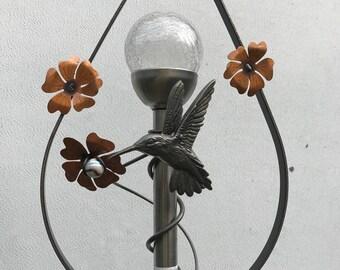 Garden decor made of steel with solar light